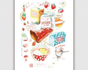 Strawberry tart illustrated recipe print, Large poster, Kitchen art, Home decor, Food illustration, French bakery, Red, Marker drawing