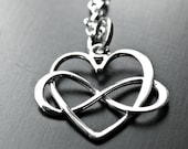 Sterling Silver Infinity Heart Necklace - Infinity Necklace - Heart Infinity Necklace - Couples Infinity Necklace