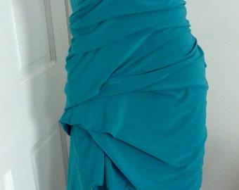 Teal jersey  v neck drape dress