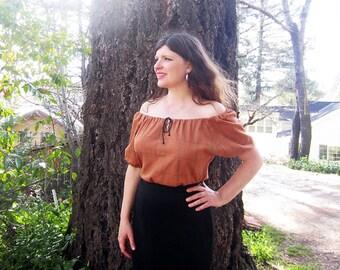 peasant blouse burnt orange hand made in California L