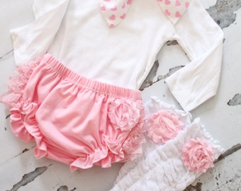 Valentine's Day Baby Girl Outfit, Set of 3 Items. Coming Home, 1st Birthday Outfit.  Lace Diaper Cover, Leg Warmers, Heart Bow Bodysuit