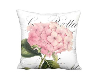 Pillow Cover - Pillow -Brottier Pink Hydrangea Flower Shabby French Cottage Decor  - 16x 18x 20x 22x 24x 26x 28x Inch Linen Cushion Cover