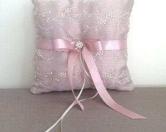 Ring Pillow, Wedding Pillow, Ring Boy Pillow, Dusty Pink Pillow, Pink Ring Pillow, Rustic Wedding, Vintage Wedding, Ring Bearer Pillow, Lace