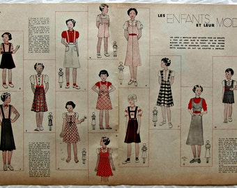 Vintage Kids' Fashion published in french magazine dated 14 may 1937