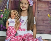 American Girl Matching Pink Lavender Polka Shirt Dot Set Girl Doll 12 month 18 Month 2T to Girls 10 Pink Dot Ruffle Leg Birthday Christmas