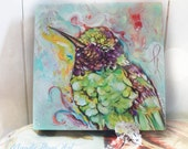 "RESERVED for (ROBIN)""Jolly Festive Hummingbird 6'' x 6'' Original Art By Mandy Higgs"