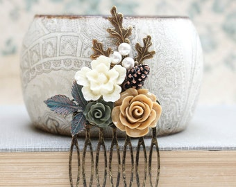 Bridal Hair Comb Leaf Neutral Pine Cone Nature Forest Wedding Earth Tones Green Flower Hair Accessories Cream Rose Autumn Woodland Wedding