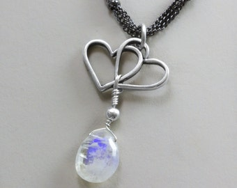 Open Double Heart necklace, charm pendant, rain drop cloud sky moonstone, gemstone silver plated Jewelry, Bridesmaids, gift for her