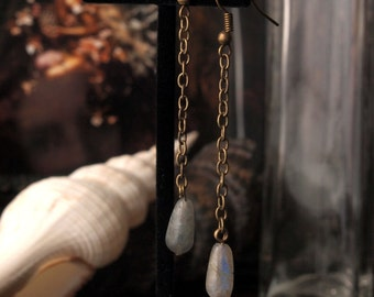 Clearance item 40% Off Antique Brass Labradorite Gemstone Dangle Earrings 3 inches