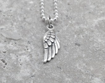 Angel Wing Necklace, Wing Necklace, Sterling Silver Jewelry, Angel Necklace, Angel Wing Pendant, Angel Jewelry, Charm Necklace, Angel Wing