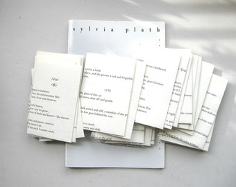 SALE Sylvia Plath Small Book Page Envelopes - Set of 33 - Classic American Poetry Ariel / DELICATE Handmade Stationery Bookish Dark Poems