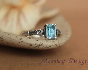blue topaz octagonal scroll engagement ring in sterling silver vintage style blue topaz wedding - Blue Topaz Wedding Rings