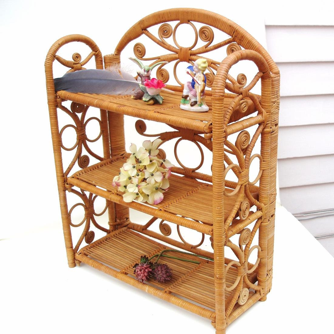 vintage wicker shelf folding shelf etagere knick by whimzythyme. Black Bedroom Furniture Sets. Home Design Ideas