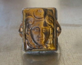 Antique Victorian Ring-Intaglio Ring-Tiger Eye Cameo -1800s Ring-Antique Unisex Ring-Right Hand Ring - Cameo Ring-Statement Ring - Size 8.5