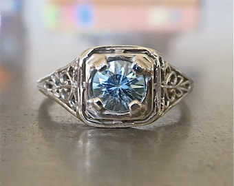 Antique Blue Zircon Ring-Unique Engagement Ring -Edwardian Engagement Ring- Vintage 1920s Engagement-Aquamarine Engagement-Downton Abbey