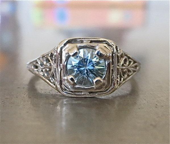 edwardian engagement ring antique blue zircon engagement