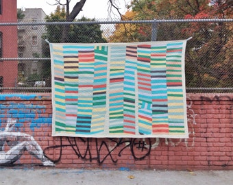 Twin size quilt: Poplar Camp quilt | improv modern quilt colorful handmade homemade handsewn recycled hand tied cotton quilt Brooklyn