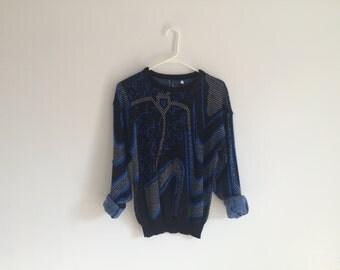 1980s GEOMETRIC grunge HIPSTER sweater