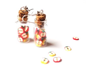 Mini Bottle Earrings Apple Earrings ( apple bottle food earrings polymer clay jewelry gift for her miniature food miniature bottle )