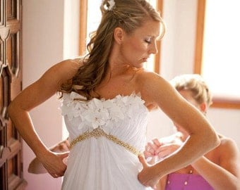 Wedding Dress with Gorgeous Gold Beading and Cut Fabric Flowers