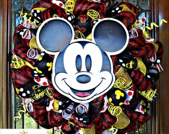 Deco Mesh Mickey Mouse Whimsical Wreath