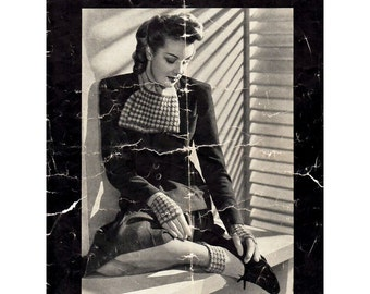 1940s Vintage Knitting Patterns Gloves Socks Stockings and Scarves Patons No. 154 Original Knitting Booklet
