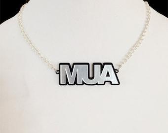 MUA Nameplate Laser Cut Acrylic Necklace