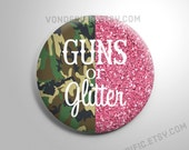 Camo Guns or Glitter Gender Reveal Party Favors  2.25 inch pinback button pin badge or magnets