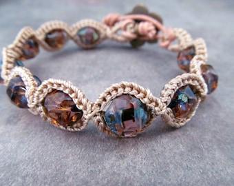 Boho Chic Crochet Bracelet - Rustic Pink Boho Chic