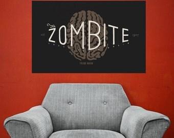 Zombie Poster Art Wall Sticker Decal – Zombite by Florent Bodart
