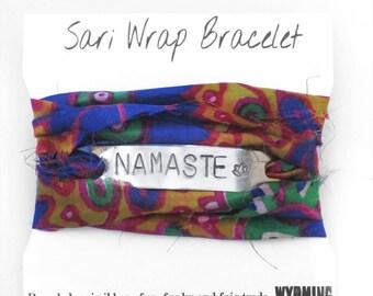silk wrap bracelets, namaste, yoga jewelry, namaste bracelet, inspirational jewelry, tie dye, lotus bracelet, handmade jewelry