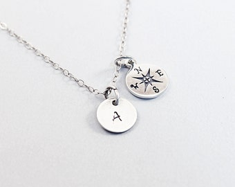Sterling silver compass necklace personalized jewelry, silver initial necklace, small compass charm graduation gift, for best friend, tiny