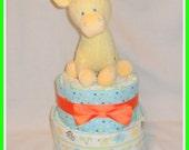 Baby Shower-Two Tier Jungle/Safari Theme Diaper Cake-ADORABLE