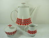 Vintage  MOD DOT COFFEE Set Colditz Red Polka Dots German Porcelain Pot/Cream/Sugar