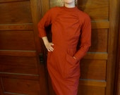 SALE--20% OFF Listing Price--Amazing Vintage Handmade 1940s-1950s Red Cocktail Dress size 6-8