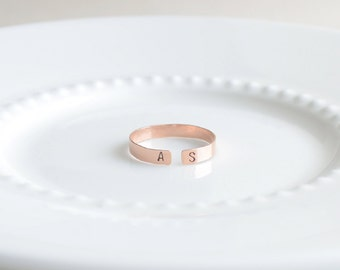 Hammered Initial Ring, Adjustable Letter Ring, Engraved Initials Ring, Sweetheart Ring, Gold, Silver, Rose Gold Initial Ring, Olive Yew-4226