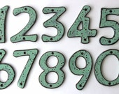 Outdoor House Numbers - SET of 4 - Aqua Mist Color - Ceramic Letters - MADE to ORDER