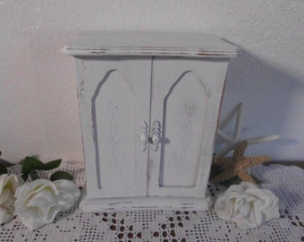 White Jewelry Box Rustic Shabby Chic Distressed Beach Cottage French Country Farm House Romantic Home Decor Birthday Christmas Gift For Her