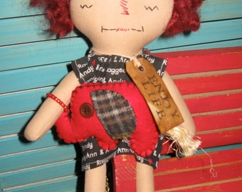 Primitive Raggedy Rag Doll With Red Elephant Doll SET OOAK Handmade