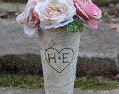 Birch Vase Personalized Heart Flower Pot Pail