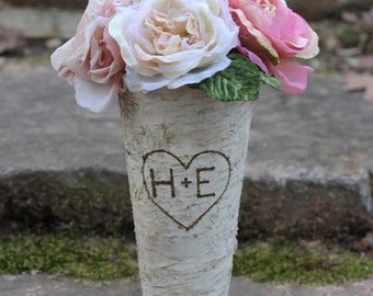 Birch Vase Personalized Heart Flower Pot Pail