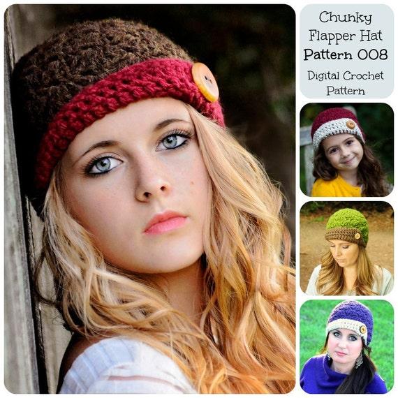 Crochet Pattern / Hat Pattern / Chunky Flapper Hat Pattern 008 / Crochet Cloche Pattern /  Women's Crochet Hat Pattern