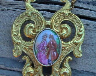 Vintage Limoges France Krementz Gold Plated Renaissance Necklace BEAUTIFUL!!! Vintage Krementz Jewelry Limoges Jewelry