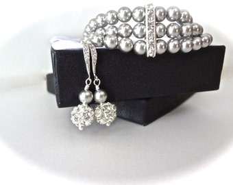 Pearl cuff Bracelet and earrings set ~ Swarovski gray pearls and crystals ~  Sterling silver wires ~ Brides jewelry set ~ BEST SELLER