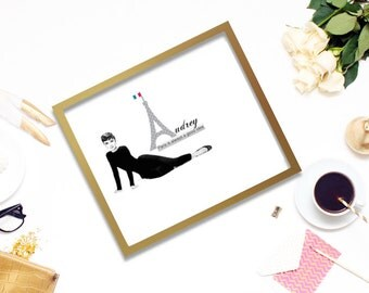Printable Audrey Hepburn and Paris is Always a Good Idea. Chic simple black and white
