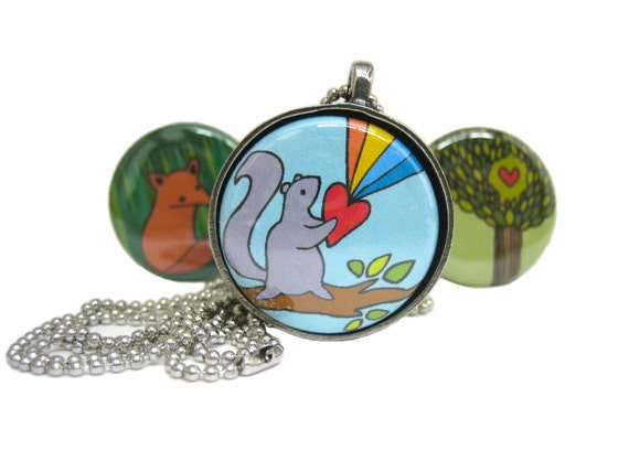 Woodland Wonder Squirrel Necklace and Fox Necklace - Set of Three Interchangeable Magnets with Pewter Pendant