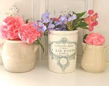 French Vintage Crock Pottery Earthenware French Farmhouse Decor Confiture Jar