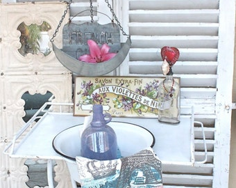 White French Farmhouse Vintage Metal Washstand Shabby Cottage Decor