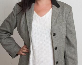 Winter Sale, 90s RALPH LAUREN Grey Wool Coat w/ Black Leather Collar, Lambskin Cuir, Medium Gray Tweed Longline Overcoat, Tailored Jacket