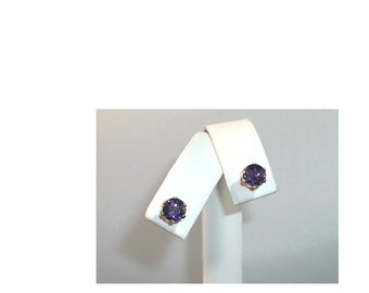 10K Yellow Gold Amethyst Earrings,  Studs - 6mm